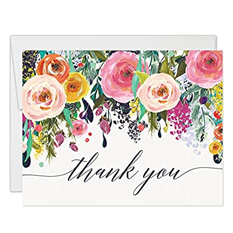 Colorful Flowers Thank You Cards With Envelopes Pack Of 50 Folded Blank Vibrant