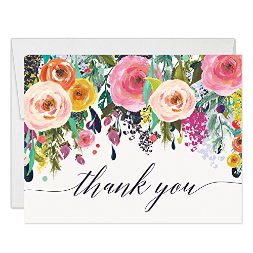 - Colorful Flowers Thank You Cards with Envelopes ( Pack of 50 ) Folded Blank Vibrant Thank You Notes Any Occasion Birthday Anniversary Retirement Gift Thanks Gracias Excellent Value Notecards VT0040