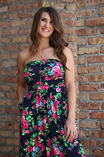 Lucky Love Maxi Dresses for Women, Plus Size Summer Beach Dress, Strapless, Vintage Floral by Lucky Love (Image #1)