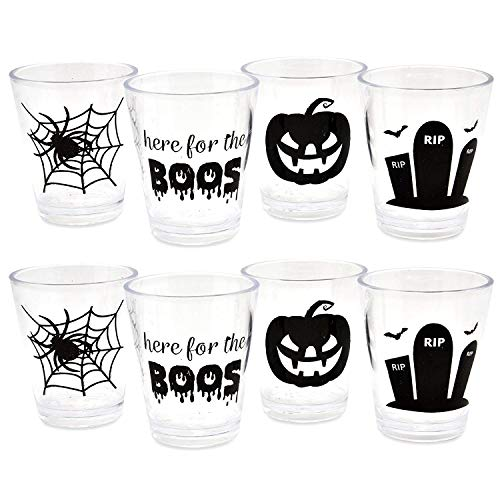 Creative Halloween Jello Shots (Plastic Reusable Halloween Whiskey Shot Glasses Set of 16 Drinking Cups Here for the Boos RIP Tombstone Spider Web and Pumpkin Party Decorations by Gift)