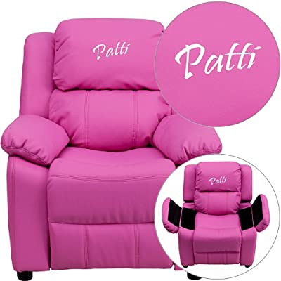 Flash Furniture Personalized Deluxe Heavily Padded Hot Pink Vinyl Kids Recliner with Storage Arms