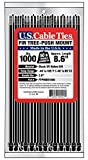 US Cable Ties FTPM8B1000 8-Inch Fir Tree Push Mount Ties, UV Black, 1000-Pack