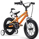 RoyalBaby BMX Freestyle Kids Bike, Boy's Bikes and Girl's Bikes with training wheels, Gifts for children, 16 inch wheels, Orange