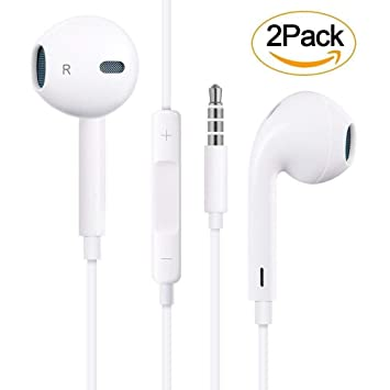 【2 Pack】 In Ear Auriculares Headphones/Earphones con Micrófono y Control de Volumen