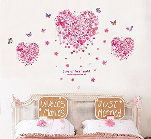 ORDERIN Christmas Gift Creative Pink Heart and Butterflies Removable Mural Wall Stickers Wall Decal for Kids Living Room Home Wall Decor