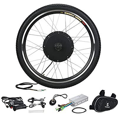 """Voilamart 26"""" Front Wheel 48V 1000W Electric Bicycle Conversion Kit E-bike Cycling Brushless Hub Motor w/ Intelligent Controller Restricted to 750W for on-Road Use"""