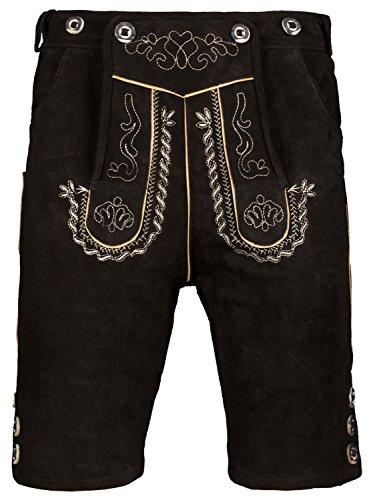 Herren Trachten Lederhose Kurz mit Trägern in verschiedenen Farben, Trachtenlederhose in Größe 46 bis 60 (50, Schwarz)