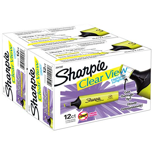 Sharpie Clear View Highlighter, Chisel Tip, 24 Pack (Clear Tip Sharpie)