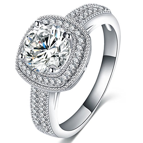 FENDINA Womens Jewelry Elegant Cubic Zirconia Love Solitaire Promise Eternity Ring Engagement Wedding Anniversary Band Her - 18K White Gold Plated - Luxurious Series-FR796