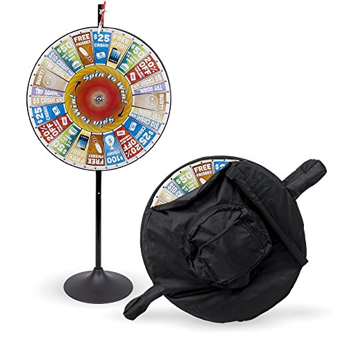36'' Customizable Prize Pocket Insert Spinning Prize Wheel with Premium Protective Carry Bag Case, Extension Base, Extension Pole by Midway Monsters by MIDWAY MONSTERS