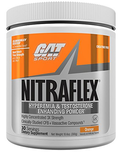 GAT Clinically Tested Nitraflex, Testosterone Enhancing Pre Workout, Orange, 300 Gram