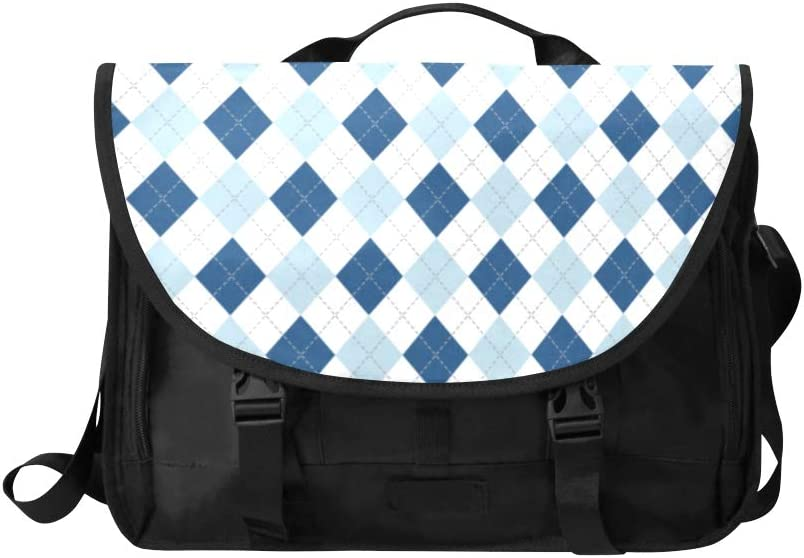 Women Briefcase Laptop Blue Lozenge Checkered Multi-Functional Briefcase Laptop for Men Fit for 15 Inch Computer Notebook MacBook
