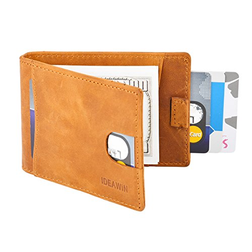 IDEAWIN Bifold Wallet Genuine Leather RFID Front pocket Money Clip Wallet