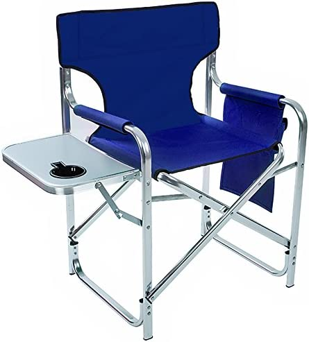 31.5 Folding Director s Chair with Side Table - Aluminum and Canvas - by Trademark Innovations Blue