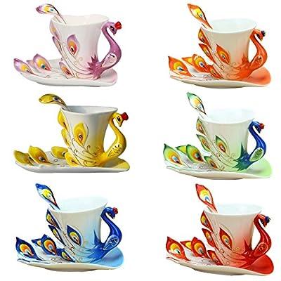 niceeshop(TM) Hand Crafted China Enamel Porcelain Tea Mug Coffee Cup Set with Spoon and Saucer