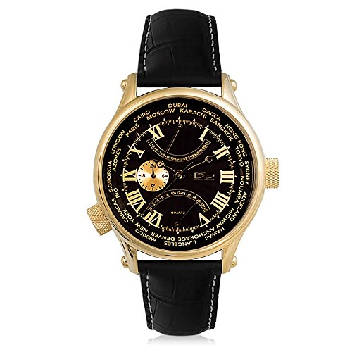 Daniel Steiger World Retrograde Luxury Multi-Function Black Watch - Water Resistant - Multi-Function Dials - Yellow Gold Finish - Genuine Leather Strap (Retrograde Luxury Watch)