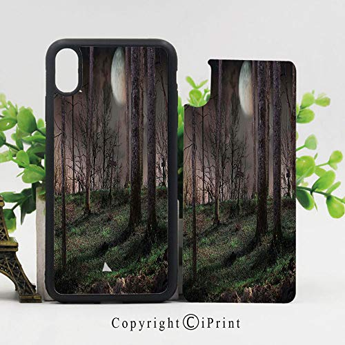 Phone Case Compatible with iPhone X,Dark Night in The Forest with Full Moon Horror Theme Grunge Style Halloween Cases,TPU Rubber Protective & Shockproof Covers(5.8