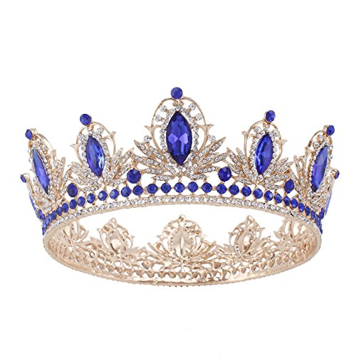 Vintage Wedding Prom Crystal Crown Rhinestone Sapphire Flower Tiara for Women Silver and Gold Plated