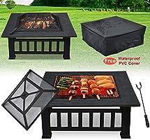 FOBUY Exterior Metal para Aire Libre Brasero 3 en 1 Pozo de fuego / Barbacoa / Cubo de hierro Jardín Patio Playa Terraza Fogón para Jardín Multifuncional BBQ (con Tapa y Malla),