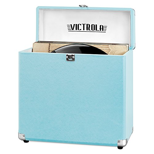 Victrola Vintage Vinyl Record Storage Carrying Case for 30+ Records, Turquoise