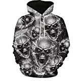 SMALLE ◕‿◕ Clearance,Mens 3D Printed Skull Pullover Long Sleeve Hooded Sweatshirt Tops Blouse