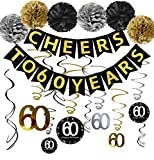 60th Birthday Party Decorations KIT - Cheers to 60 Years Banner, Sparkling Celebration 60 Hanging Swirls, Poms, Perfect 60 Years Old Party Supplies 60th Birthday Decorations: more info