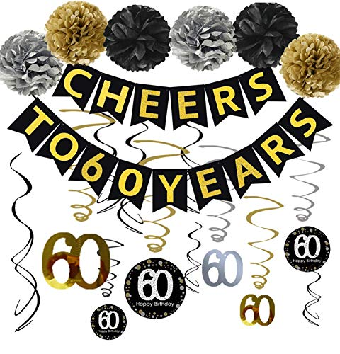 Famoby 60th Birthday Party Decorations KIT - Cheers to 60 Years Banner, Sparkling Celebration 60 Hanging Swirls, Poms, Perfect 60 Years Old Party Supplies 60th Anniversary Decorations]()