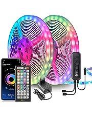 Ledstrip, 20 m, extra lang, led, 5050 RGB, besturing via app-afstandsbediening, synchronisatie met muziekritme, led-band voor slaapkamer, bruiloft, feest, Kerstmis, keuken