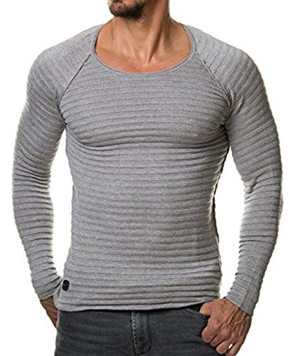 Men's Slim Fit Muscle T-Shirts Crew Neck Long Sleeve Knit Pullover Sweater (US-L, Grey)