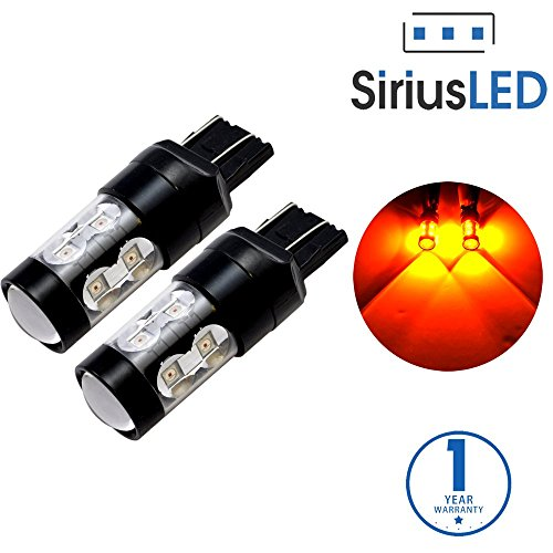 SiriusLED Extremely Bright 50W Dual Brightness Projector LED Bulbs for Turn Signals Daytime Running DRL Brake Tail Lights Parking Stop 7443 7444NA Amber ()