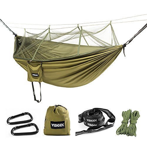 YISEEK Outdoor Mosquito Net Hammock, Premium Quality, Lightweight & Durable.Comfortable For Bug Free Camping, Hiking, Backpacking & Travel. (Army green) (Army Mosquito Net)