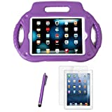 HDE Kids Shock Proof Steering Wheel Case with Stand for iPad Mini / Mini 2 / Mini 3 / Retina with Screen Protector and Matching Stylus (Purple)