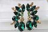 Rebeka jewelry ,EMERALD EARRINGS, Statement Earrings, Dark Green Earrings, Bridal Climbing Earrings, Elegant Earrings,Peridot And Emerald Swarovski Earrings
