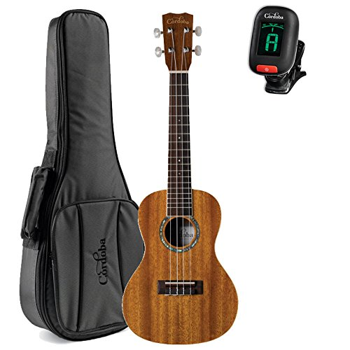 Cordoba 15CM Acoustic Concert Ukulele with Deluxe Concert Gig Bag and Cordoba Tuner by Cordoba