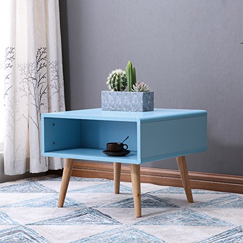 Oak Magazine Floor Lamp - D&L Solid wood Waterproof Side table, Rectangle Sofa table Bedroom Night table Creativity Coffee table Modern Simple Telephone table Storage rack-Blue