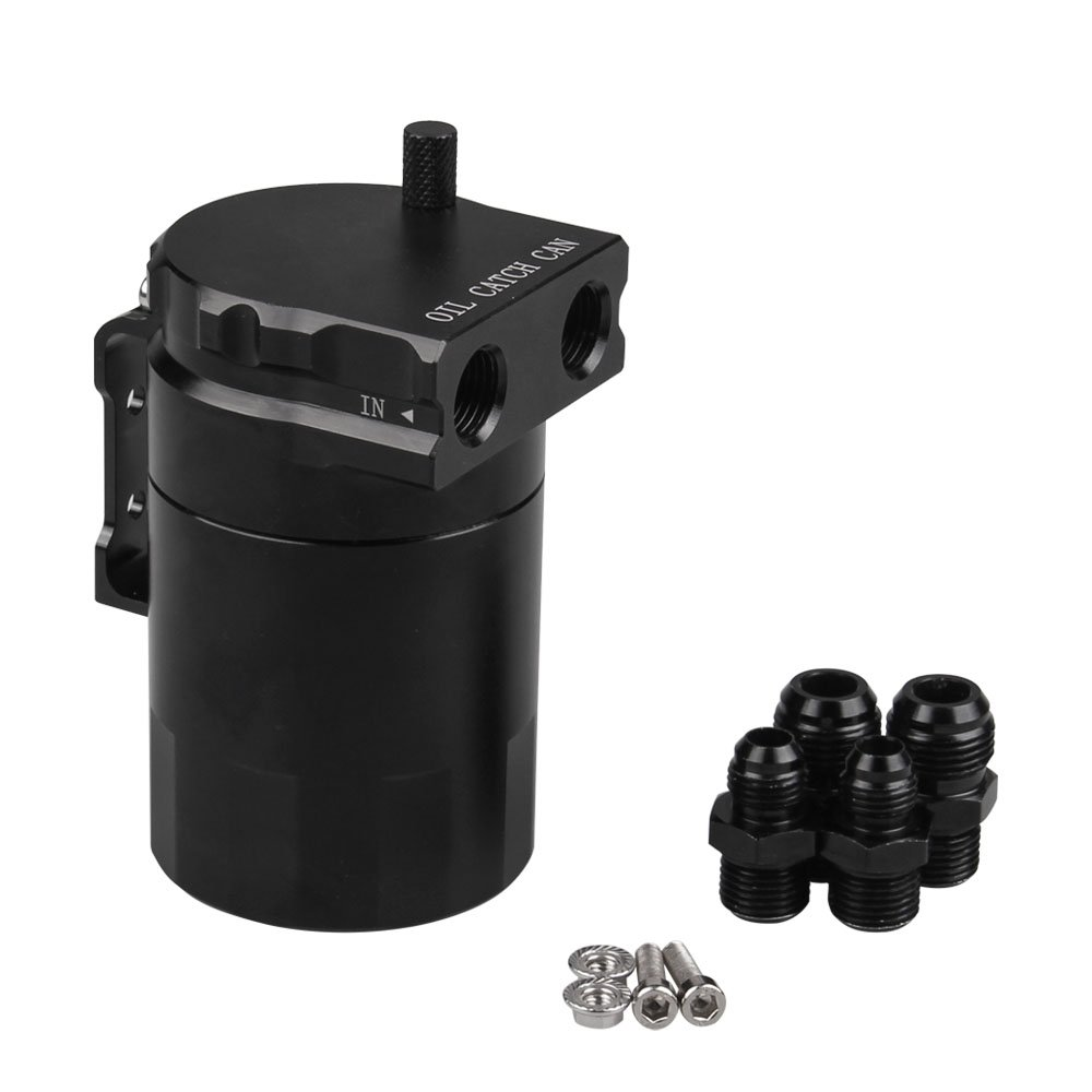 Ruien Aluminum Black Oil Catch Can Reservoir Tank Oil Tank Universal With AN6 AN8 Adapters