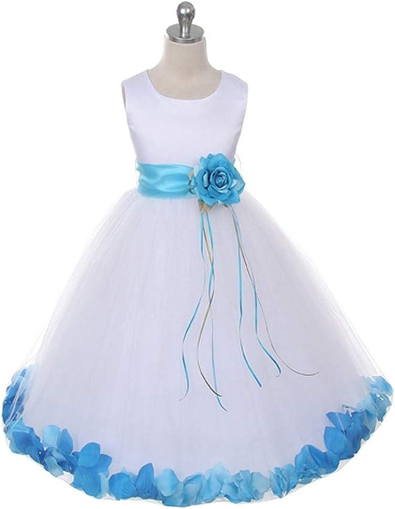 Kids Dream Little Girls White Satin Aqua Petal Flower Girl Dress