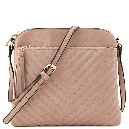 Chevron Quilted Medium Crossbody Bag with Tassel Accent (Mauve) ()