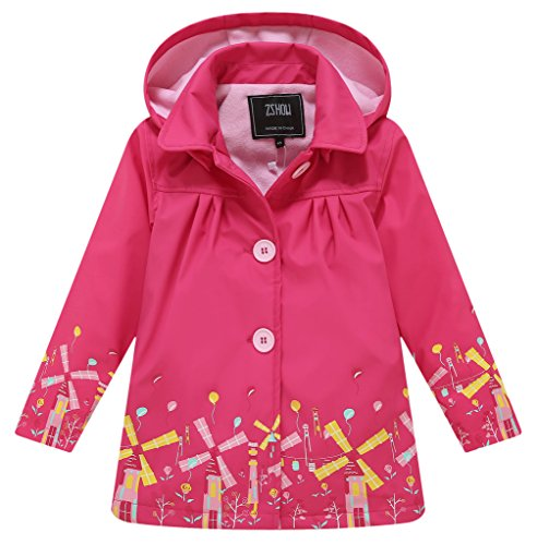 ZSHOW Girl's and Boy's Soft Shell Rain jacket Waterproof Fleece Jacket with Removeable Hooded,Rose Red/7 to 8Y