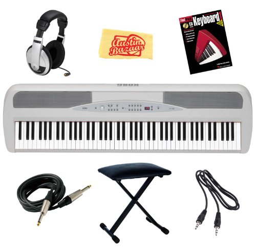 Korg SP280WH 88-Key Digital Piano with Stand and Pedal Bundle with X-Style Bench, 3.5mm Cable, Headphones, Instrument Cable, Instructional Book, and Polishing Cloth - White
