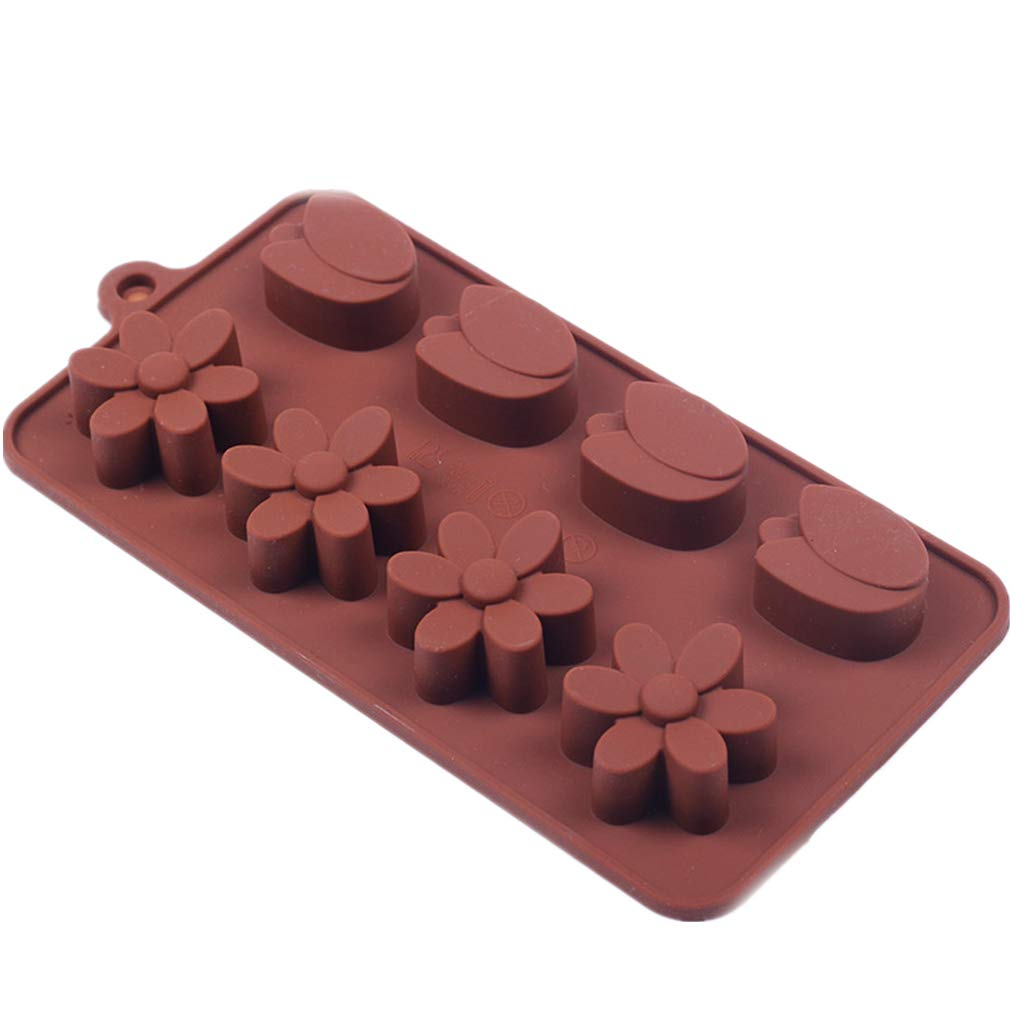 Amaping 15 Cavity Tulips Flower Pattern Silicone DIY Chocolate Ice Cube Mold for Cookie Sugar Candy Jelly Soap Baking Tray Cupcake Mold (Coffee)