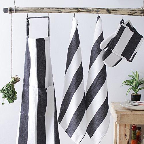 Villa Tranquil Kitchen Linen Set, 100% Cotton Kitchen Combo, Set of 5, Essential for All Kitchens, Apron (30x34 Inch), Glove (8x13 Inch), Pot Holder (8x8 Inch), Kitchen Towel (20x28 ()