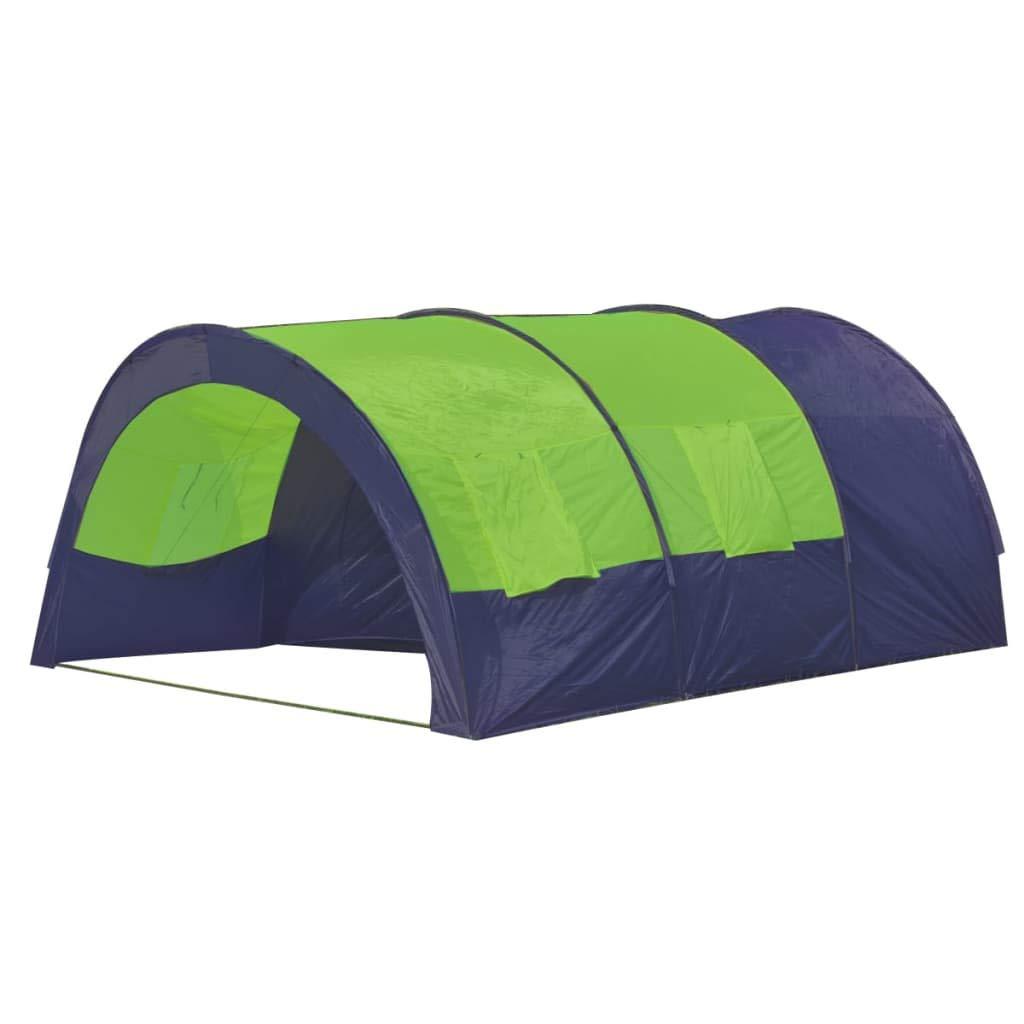 VidaXL Tunnelzelt Familienzelt Campingzelt 6 Personen Gruppenzelt Outdoor blau-grün