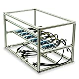 Mytrix Solid Aluminum Cryptocurrency Open Air Mining Rig Frame Case Single PSU – Fits up to 6 GPU for Crypto Coin ETH Ethereum Zcash ZEC Bitcoin (Frame with 6 Riser) - Sliver