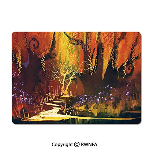 Game Speed Version Medium Cloth Mouse pad,Night Moon Sky with Tree Silhouette Gothic Halloween Colors Scary Artsy Background(8.3