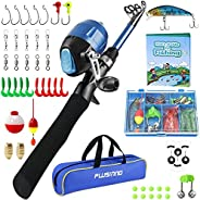 Kids Fishing Pole,Telescopic Fishing Rod and Reel Combos with Spincast Fishing Reel and String with Fishing Li