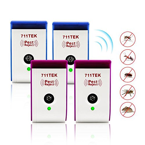 Ultrasonic Pest Repellent, 711TEK ZS-2033 Electronic Pest Control Repeller Plug in, Pest Repeller for Mouse, Roaches, Bugs, Fleas, Mosquitoes, Spiders 4 Packs [2019 Upgraded]