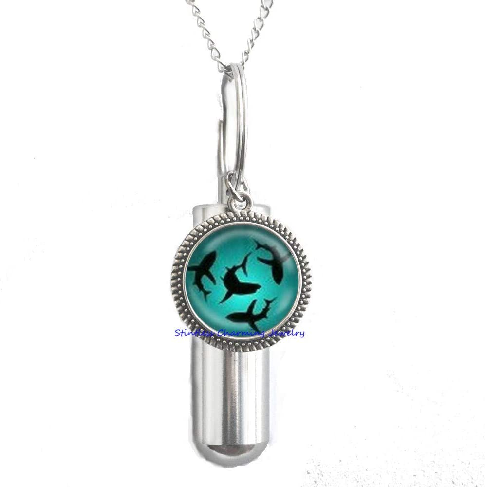 Circling Sharks URN Cremation URN Necklace Glass Dome Cover Jewelry Charm Round Circle,Shark Jewelry Ocean URN Ocean Gift Sea URN Birthday Gift Ocean-JP251