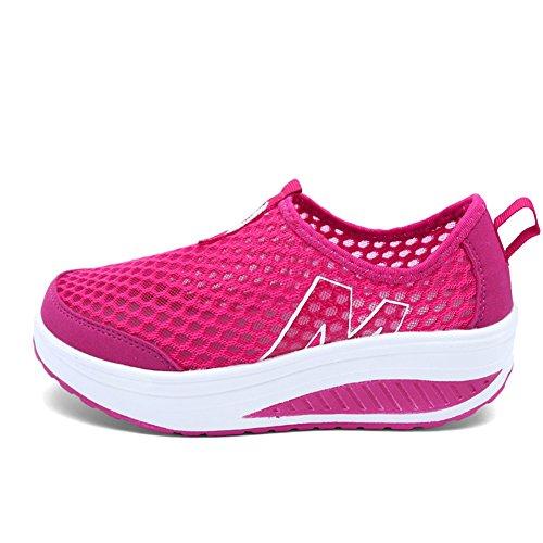 Sneakers Donna Loubit Comfort Slip On Zeppe Scarpe Da Passeggio In Mesh Traspirante Per Donna Rosso