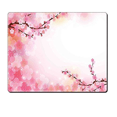 Mouse Pad Unique Custom Printed Mousepad Nature Fresh Cherry Blossom Branches With Hazy Sun Lights Surreal Tranquil Picture Lilac Baby Pink Stitched Edge Non Slip Rubber Mad Custom Cherry